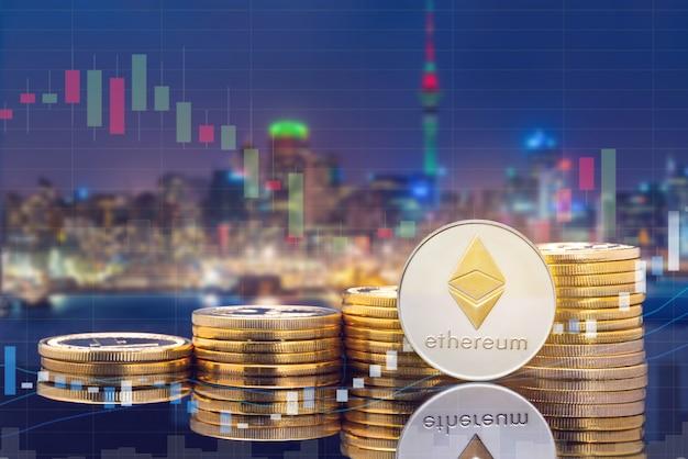 Cyptocurrency numérique concept de marché trading et échange de pièces. Photo Premium
