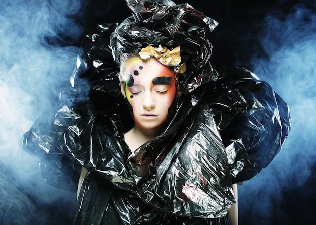 Dark Beautiful Gothic Princess. Fête D'halloween. Photo Premium