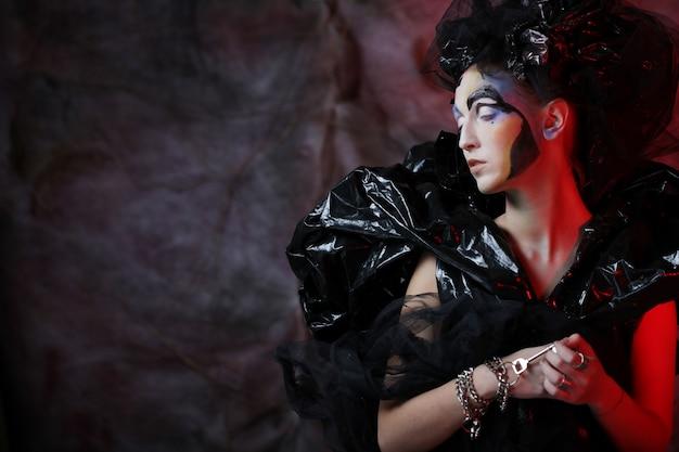 Dark Beautiful Gothic Princess.halloween Photo Premium