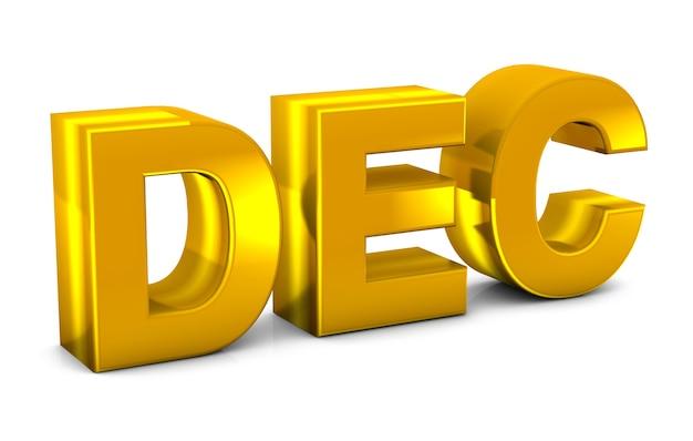 Dec Gold Texte 3d Décembre Abréviation De Mois Isolé Sur Fond Blanc. Rendu 3d. Photo Premium