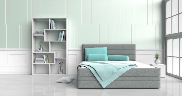Décor de chambre blanc-vert avec oreillers, table de chevet ...