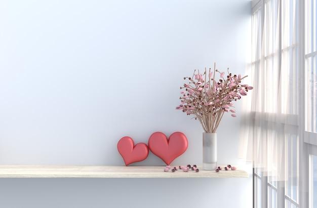 Décor de chambre blanche avec deux coeurs, mur blanc, fenêtre, rose rose, drapé. rendu 3d. valenti Photo Premium