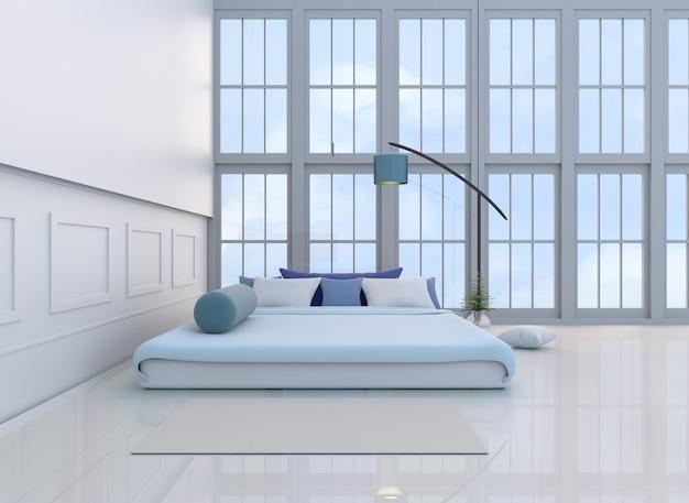 Décor de chambre à coucher blanc avec lit bleu clair ...