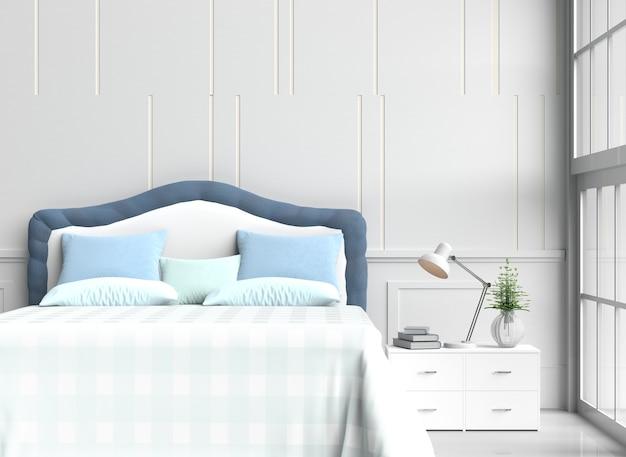 Décor de chambre à coucher blanc avec oreillers, couverture bleu ...