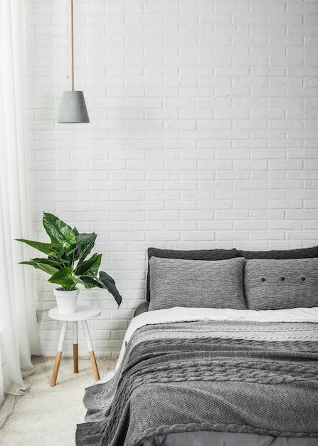 Décor de chambre à coucher intérieure fleur blanche grise ...