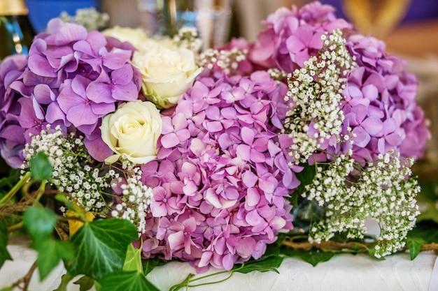 Le décor des fleurs d'hortensia. Photo Premium