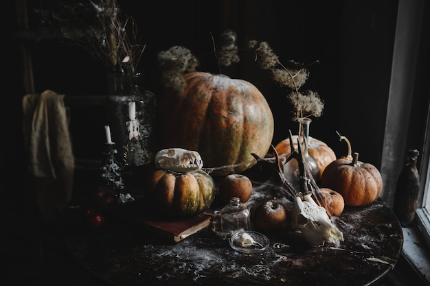 Décor d'halloween. fond d'écran 4k. vieilles citrouilles, grenades, pommes Photo gratuit