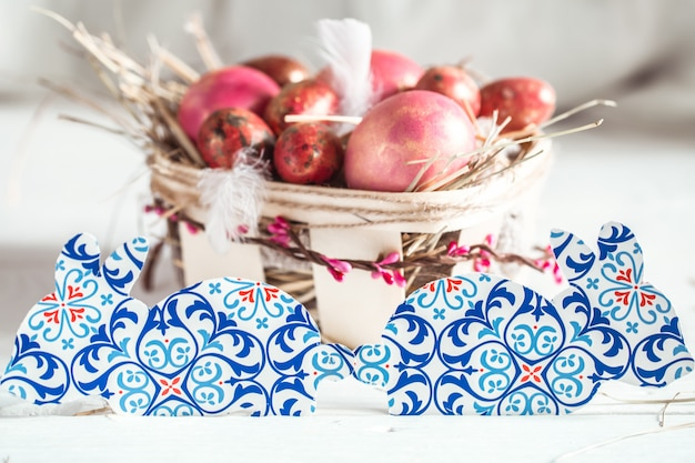 Décor De Pâques En Papier Lapin Photo Premium