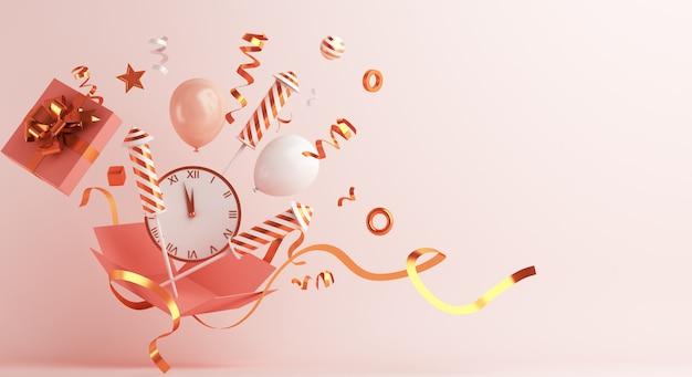 Décoration De Bonne Année Avec Horloge De Ballons Fusée Feu D'artifice Boîte Cadeau Ouvert Photo Premium