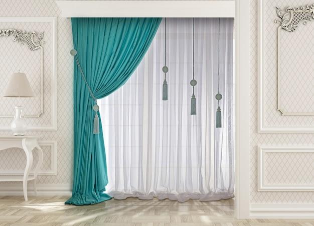 Décoration de fenêtre avec rideau Photo Premium