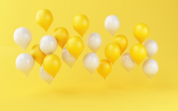 Décoration de fête d'anniversaire ballons 3d Photo Premium