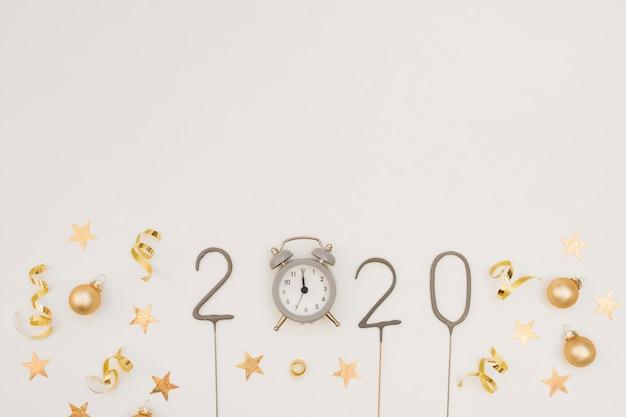 Décoration De Fête De Nouvel An Avec Horloge Et Espace De Copie Photo Premium