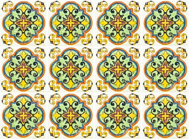 Décoration Murale Colorée De Carreaux De Céramique Vintage. Fond De Mur De Carreaux De Céramique Turque Photo Premium