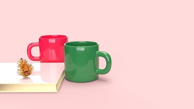 Décoration de noël avec un couple de tasse à café en céramique, livre et pomme de pin. Photo Premium
