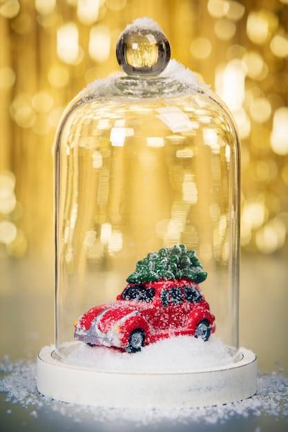 Décoration De Noël Sur Fond Abstrait Or, Gros Plan Photo Premium