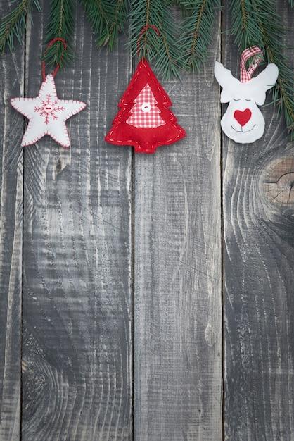Décoration De Noël Sur Des Planches De Bois Photo gratuit