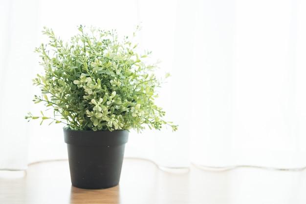 Décoration de plante de vase dans la maison au côté de la fenêtre Photo gratuit