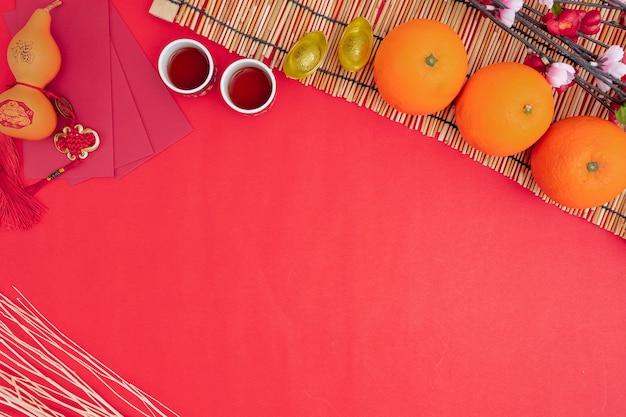 Décorations du festival du nouvel an chinois en bonne santé et richesse orange Photo Premium