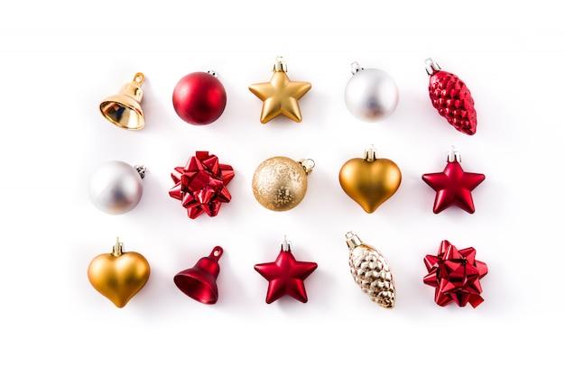 Décorations De Noël Rouge, Argent Et Or Isolées Sur Blanc Photo Premium