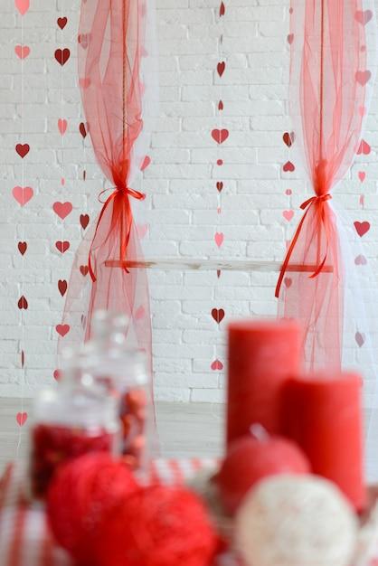 Décorations pour la saint-valentin. il peut être utilisé comme arrière-plan Photo Premium