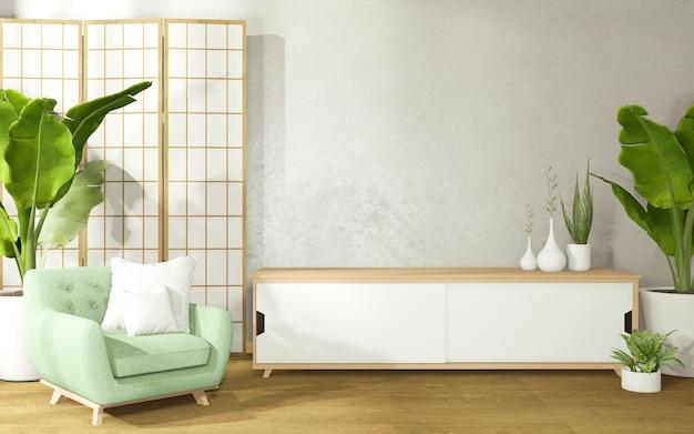 Décorer Une Chambre De Style Japonais Comprenant Un Fauteuil Et Une Armoire Sur Une Pièce Avec Des Murs En Béton. Photo Premium