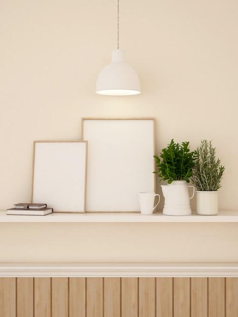 Décration des cadres et des murs pour les œuvres d'art ou les galeries - rendu 3d Photo Premium