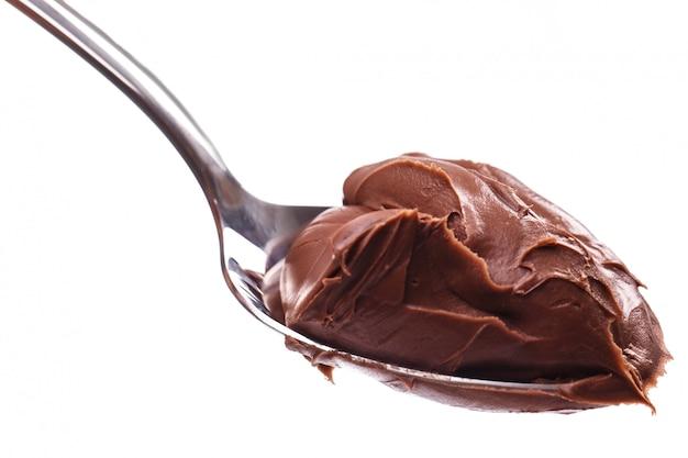 Délicieuse Crème Au Chocolat Sur Une Cuillère Photo gratuit