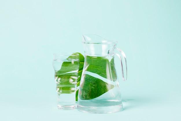 Délicieuses feuilles de menthe derrière le pichet d'eau Photo gratuit