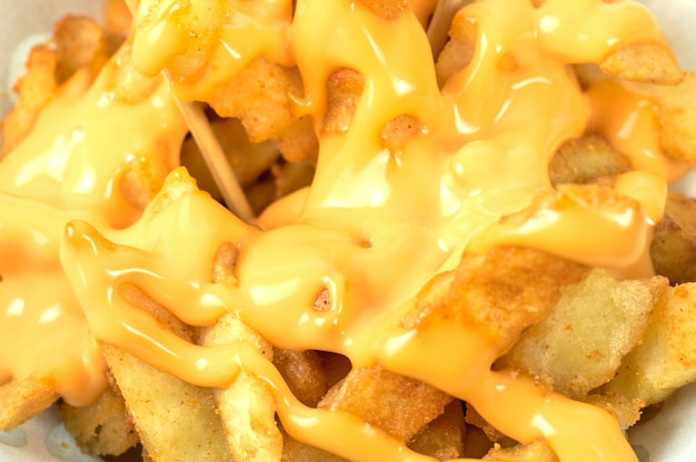Délicieuses frites avec sauce au fromage Photo Premium