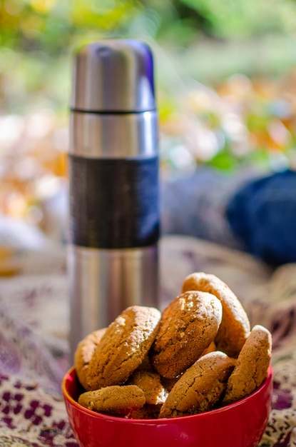De délicieux biscuits à l'avoine sont dans l'assiette. Photo Premium