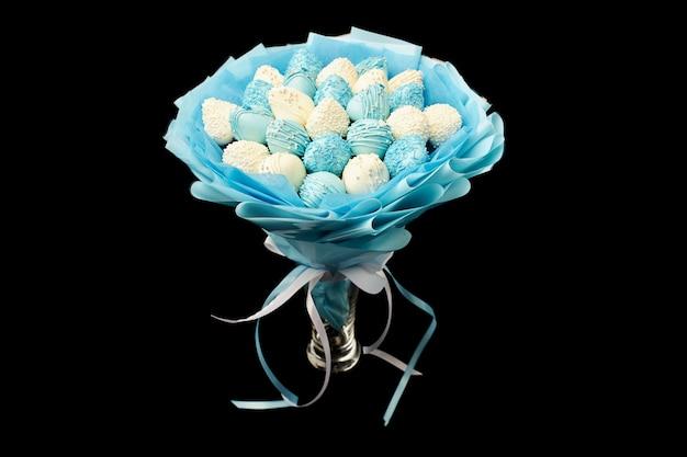 Délicieux bouquet de fraises au chocolat Photo Premium