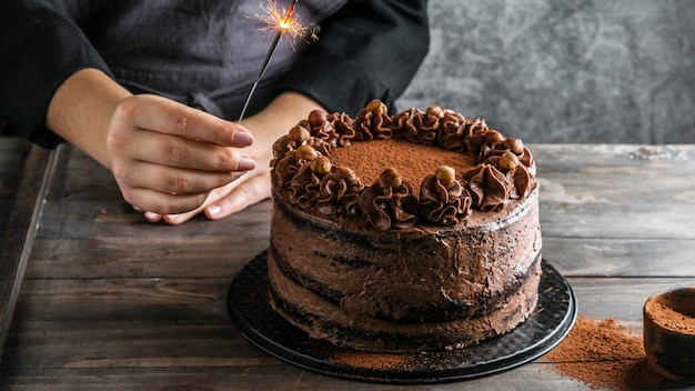 Délicieux Gâteau Au Chocolat Photo Premium