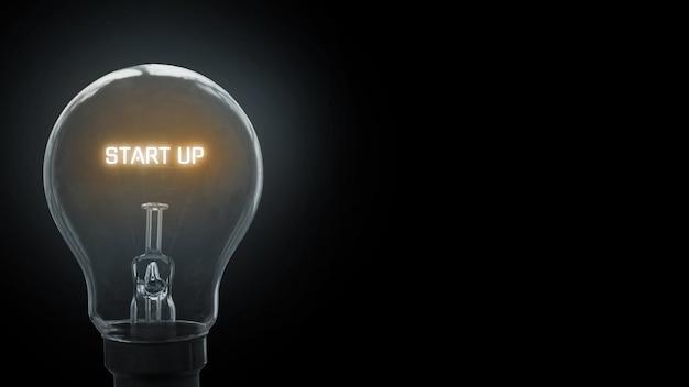 Démarrer Le Texte En Arrière-plan De L'ampoule Photo Premium