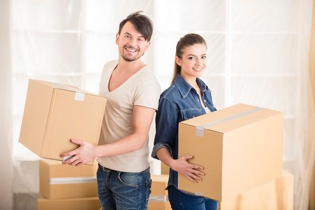 Déménagement, achat d'une nouvelle habitation. Photo Premium
