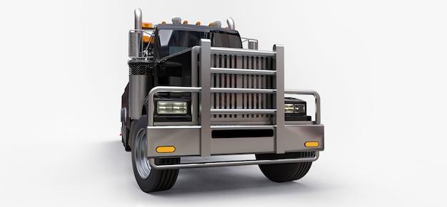 Dépanneuse Noire Pour Transporter D'autres Gros Camions Ou Diverses Machines Lourdes Photo Premium