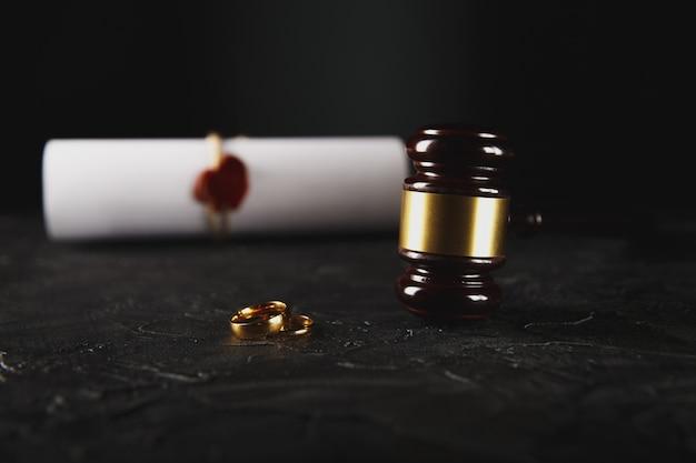 Dépôt Des Papiers De Divorce Ou Accord Prénuptial Préparé Par Un Avocat. Alliance Photo Premium