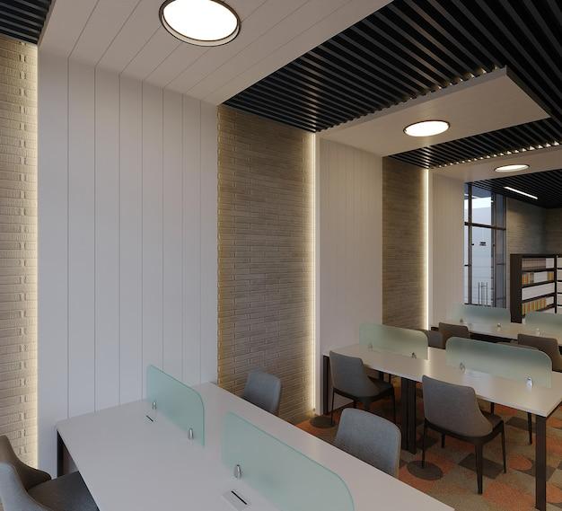 Design D'intérieur De Bibliothèque Moderne Avec Table, Chaise Et étagère à Livres, Rendu 3d Photo Premium