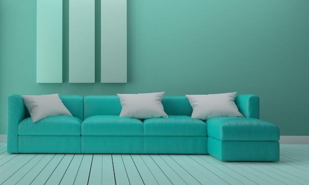 Design d\'intérieur de chambre verte à la menthe. rendu 3d ...