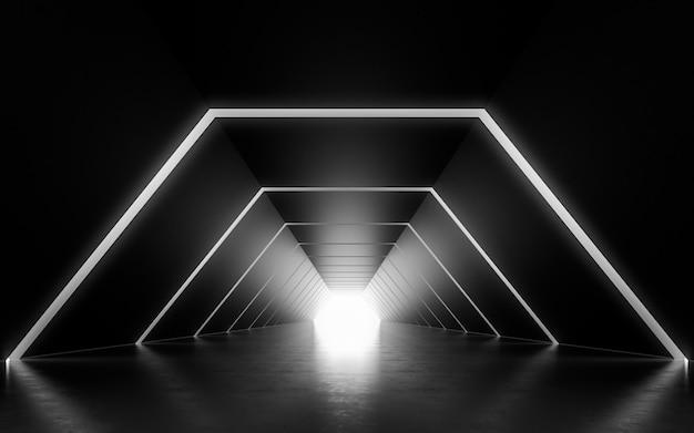 Design d'intérieur couloir éclairé. rendu 3d Photo Premium