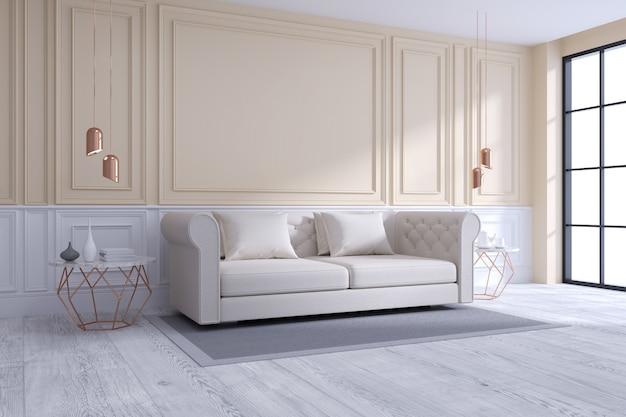 Design d'intérieur moderne et classique, concept de chambre blanche et confortable Photo Premium