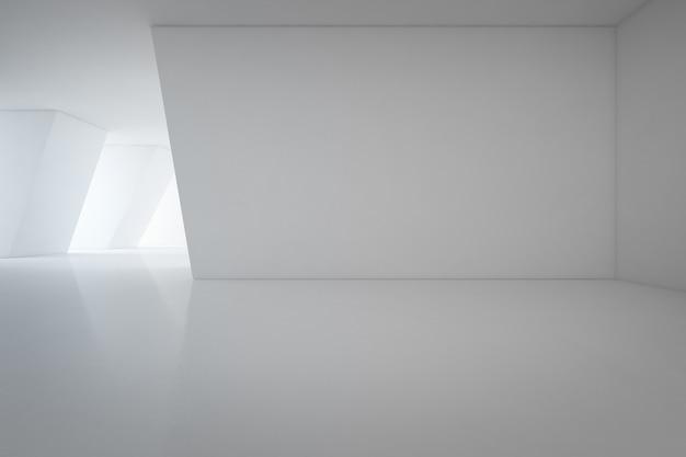 Design intérieur moderne de salle d'exposition avec plancher vide et fond de mur blanc - renderi 3d Photo Premium