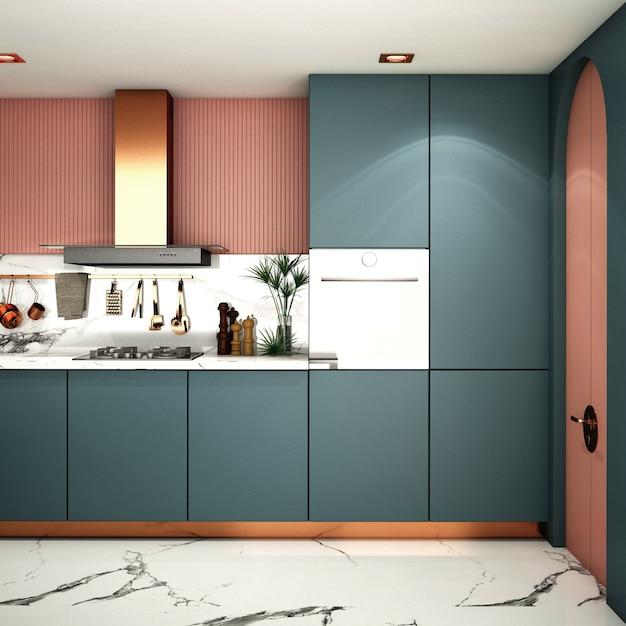 Design D'intérieur Pour Cuisine Dans Un Style Moderne Photo Premium