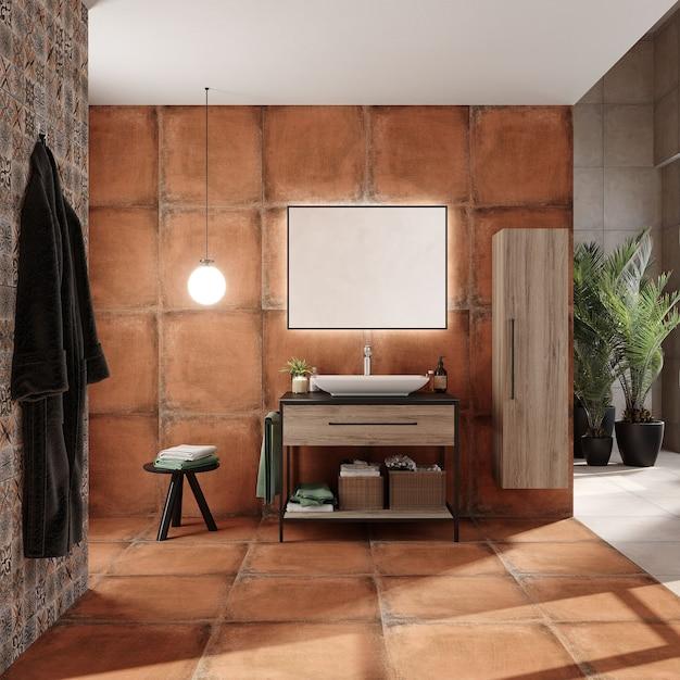 Design D'intérieur De Salle De Bain Avec Armoire Et étagère, Rendu 3d Photo Premium