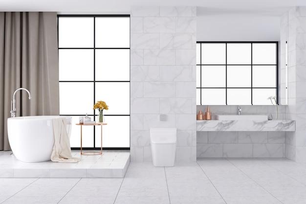 Design d'intérieur de salle de bains de luxe blanc spacieux, rendu 3d Photo Premium