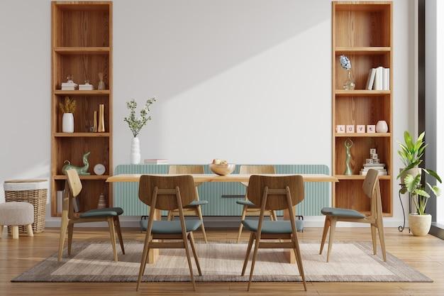 Design D'intérieur De Salle à Manger Moderne Avec Mur Blanc Rendu 3d Photo Premium