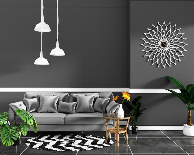 Design d'intérieur salle vide mur noir et sol en carrelage de granit mock up. rendu 3d Photo Premium