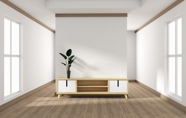 Design de meuble, salon moderne avec mur blanc sur plancher ...