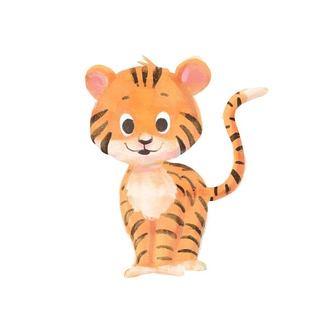 Dessin animé bébé tigre isolé Photo Premium