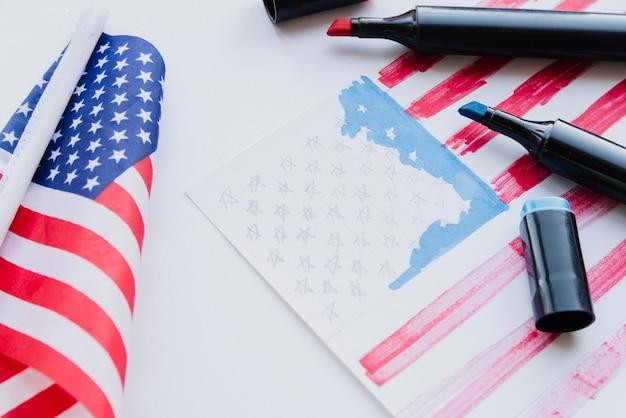 Dessin du drapeau américain Photo gratuit