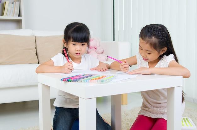 Dessin d'enfants asiatiques Photo Premium